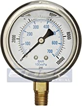Liquid Filled 0-10,000 PSI Lower Side Mount Air Pressure Gauge With 2.5