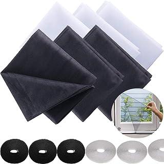 Insect Mesh Screening,OSUTER 6PCS Insect Screen Window Cutable Mosquito Mesh met 6PCS klittenband voor Verschillende Ramen...