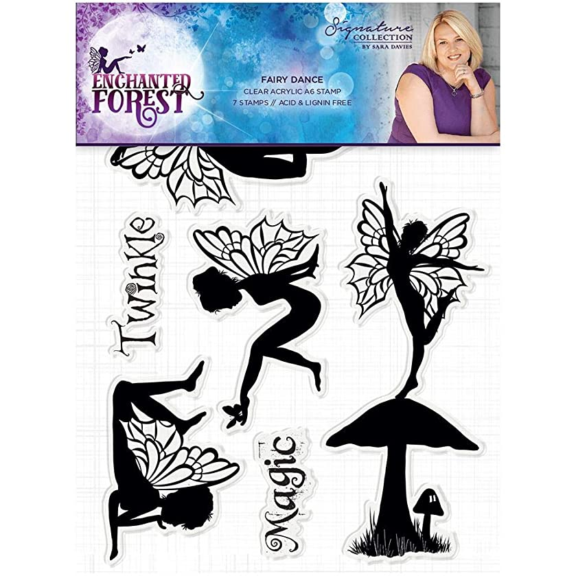 Sara Signature S-EF-ST-FDA Enchanted Forest Fairy Dance Clear Acrylic Stamp, Silver