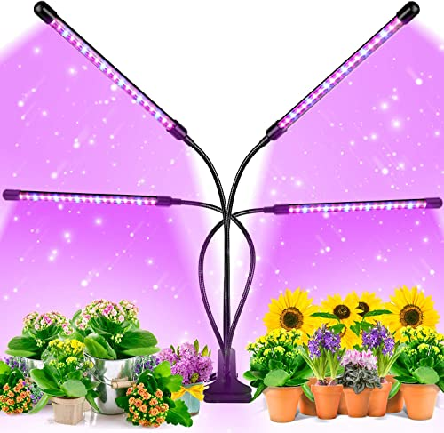 EZORKAS Grow Light, 80W Tri Head Timing 80 LED 9 Dimmable Levels Plant Grow Lights for Indoor Plants with Red Blue Sp...