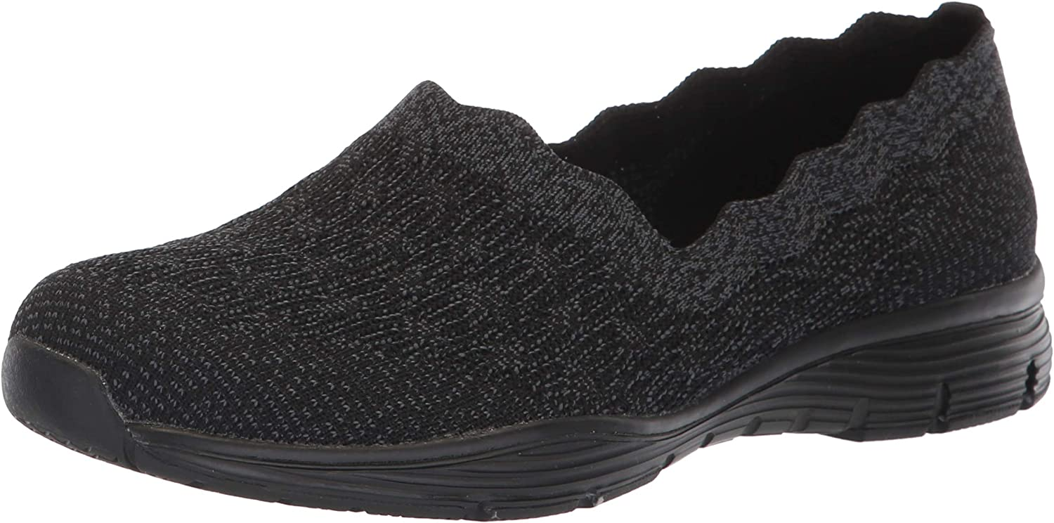 Skechers Womens Seager - Diamante - Engineered Knit Scallop Collar Slip on Loafer