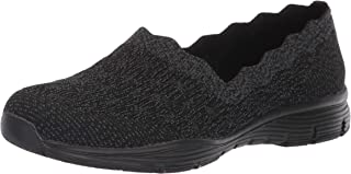 Skechers Women's Seager - Diamante - Engineered Knit Scallop Collar Slip on Loafer,