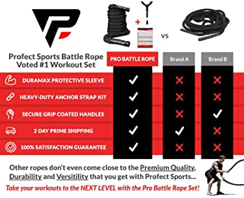 Pro Battle Ropes with Anchor Strap Kit and Exercise Poster – Upgraded Durable Protective Sleeve – 100% Poly Dacron He...