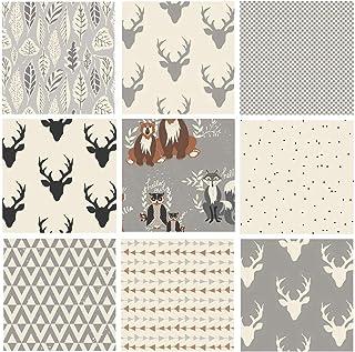 Gray Hello Bear Quilt Bundle | Black White Deer Fabrics | Forest Animal Quilt | Nursery Fabrics | Deer Heads Arrows | Art ...