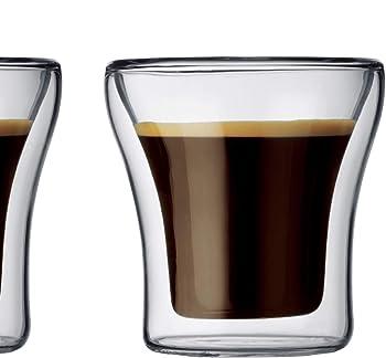 Bodum ASSAM 2-teiliges Kaffeeglas-Set (Doppelwandig, Mundgeblasen, Spülmaschinengeeignet, 0,1 liters) transparent