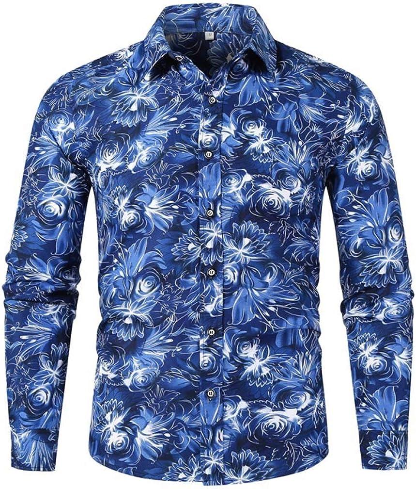 YD-zx Men's Spring Fashion Hawaii Floral Printed Lapel Dress Shirt Slim Fit Casual Shirt Long Sleeve Button Down Shirts