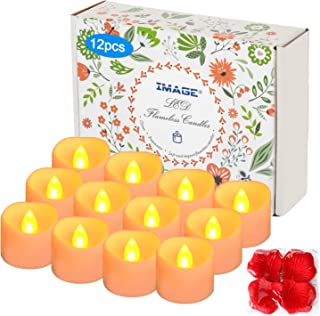 IMAGE Battery Tea Lights with Timer,Flickering Candles 12PCS 6hrs on and 18hrs Off in 24 Hours Cycle Automatically Timing LED Candles Lights with 100 PCS Decorative Fake Rose Petals-Amber Yellow