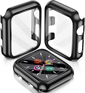LeYi [2 Pack] Compatible Apple Watch Series 3/2/ 1 Case 38mm with Build-in Tempered Glass Screen Protector, Hard TPU All-A...
