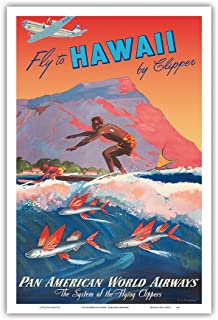 Fly to Hawaii by Clipper - Pan American World Airways - Hawaiian Surfer, Diamond Head Crater - Vintage World Travel Poster by Mark Von Arenburg c.1940s - Hawaiian Master Art Print - 12 x 18in