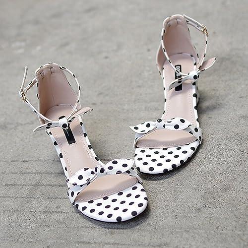 DIDIDD zapatos de mujer de Proa Gruesos Romanos con una Palabra con zapatos de Hadas,Re,35