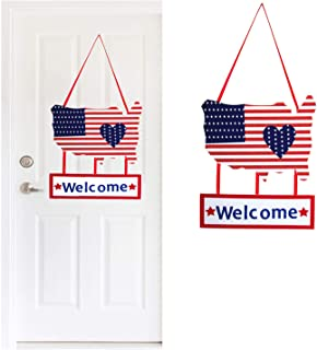 1pc Patriotic welcome sign - 4th of July Decorations Front Door Welcome hanging - Flag Day, Memorial Day, Independence Day, and Labor Day decorations Outdoor Indoor Door Decor Hanging welcome sign