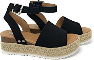 Clip Womens Casual Espadrilles Trim Flatform Studded Wedge
