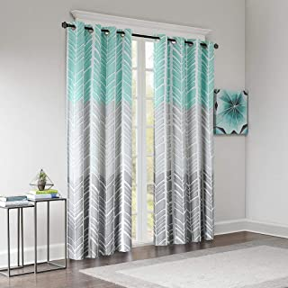 Intelligent Design ID40-1013 Blackout Bedroom, Casual Aqua Grey Living Family, Geometric Adel Grommet Room Darkening Black Out Window Curtain, 50X84, 1-Panel