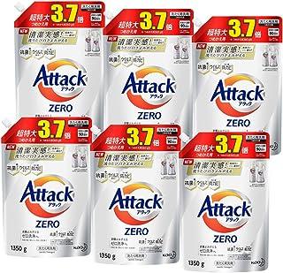 【ケース販売】アタック ゼロ(ZERO) 洗濯洗剤(Laundry Detergent) 詰め替え 1350g×6個 (清潔実感! 洗うたび白さよみがえる)