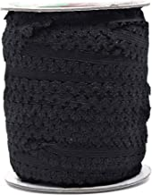 Mandala Crafts Elastic Lace Trim, Stretch Ribbon for Headbands, Lingerie, Garters, Thongs, DIY Crafting and Sewing (1 Inch, 55 Yards, Black)