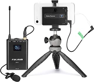 FULAIM 4-CHAN UHF Wireless Lavalier Microphone System w/Real-time Audio Monitor for iPhone Android Smartphones DSLR Camera, Professional Video Recording Mic System for Interview Youtube Vlog (MX10)
