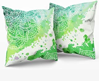 CaliTime Throw Pillow Cases Pack of 2 Cozy Fleece Watercolor Mandala Flora Bohemian Style Cushion Covers for Couch Bed Sofa Farmhouse Decoration 18 X 18 Inches Main Green