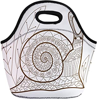 Semtomn Neoprene Lunch Tote Bag Adult Coloring Page Cute Snail Whimsical Line for Colouring Reusable Cooler Bags Insulated Thermal Picnic Handbag for Travel,School,Outdoors, Work
