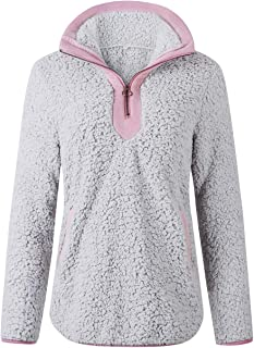 Les umes - Sudaderas de forro polar para mujer con cuello alto, cremallera y bolsillos