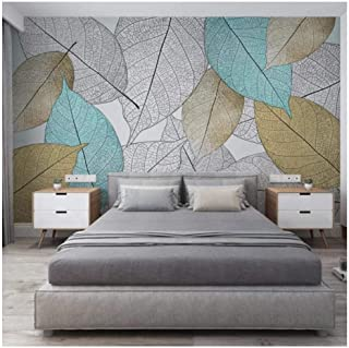 Custom Mural Wallpaper wall art 3D Leaf Vein Texture Self-adhesive Waterproof Floor -350x250cm/138x98inch
