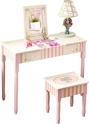 Fantasy Fields - Bouquet Thematic Kids Flip Top Mirror Vanity Table and Stool Set