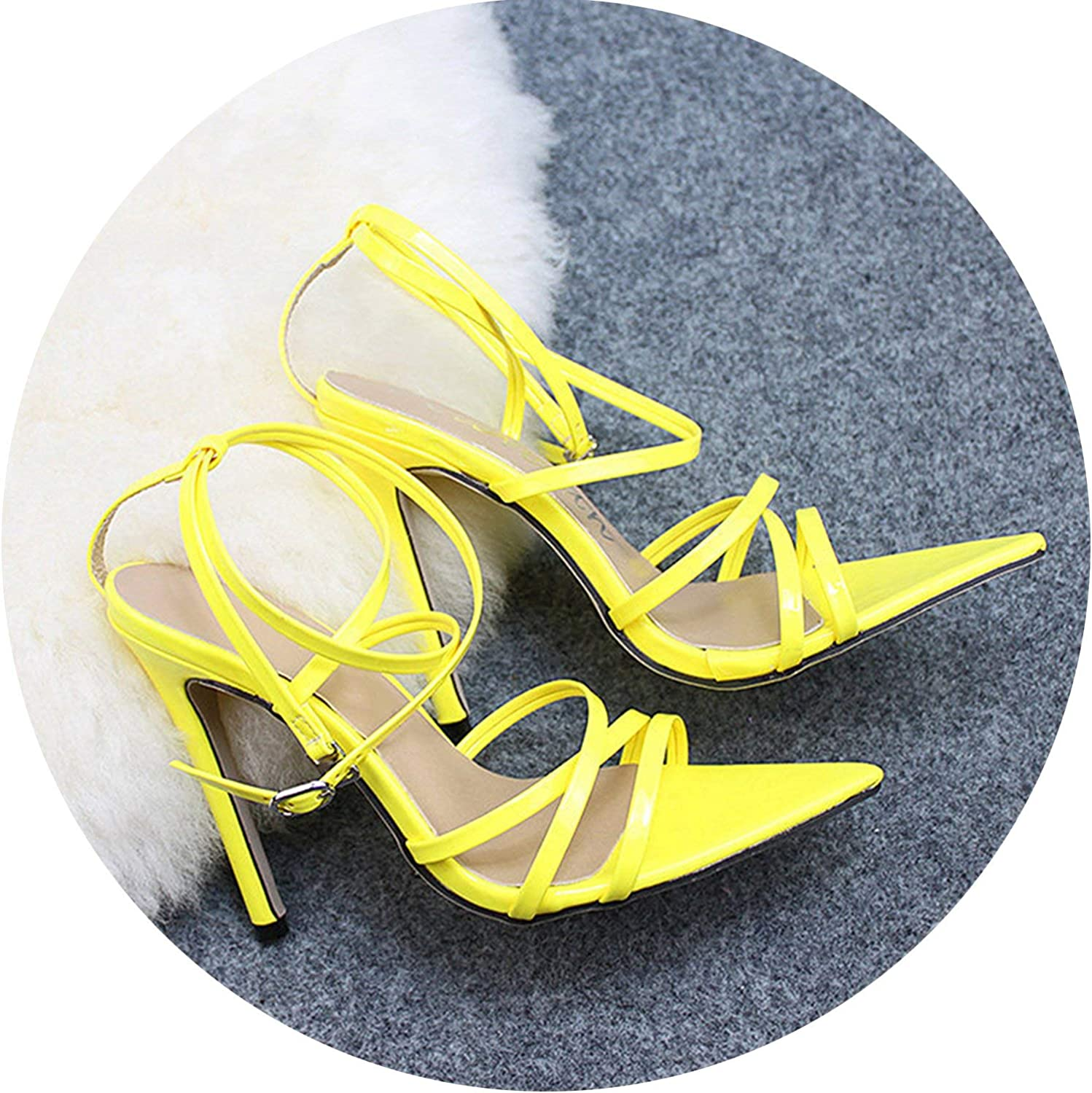 Coolemon Super High 11.5CM Thin Heels Women Pumps Ankle Cross Strap Sandals shoes Woman Ladies Pointed Toe High Heels Dress Party shoes,Yellow,36