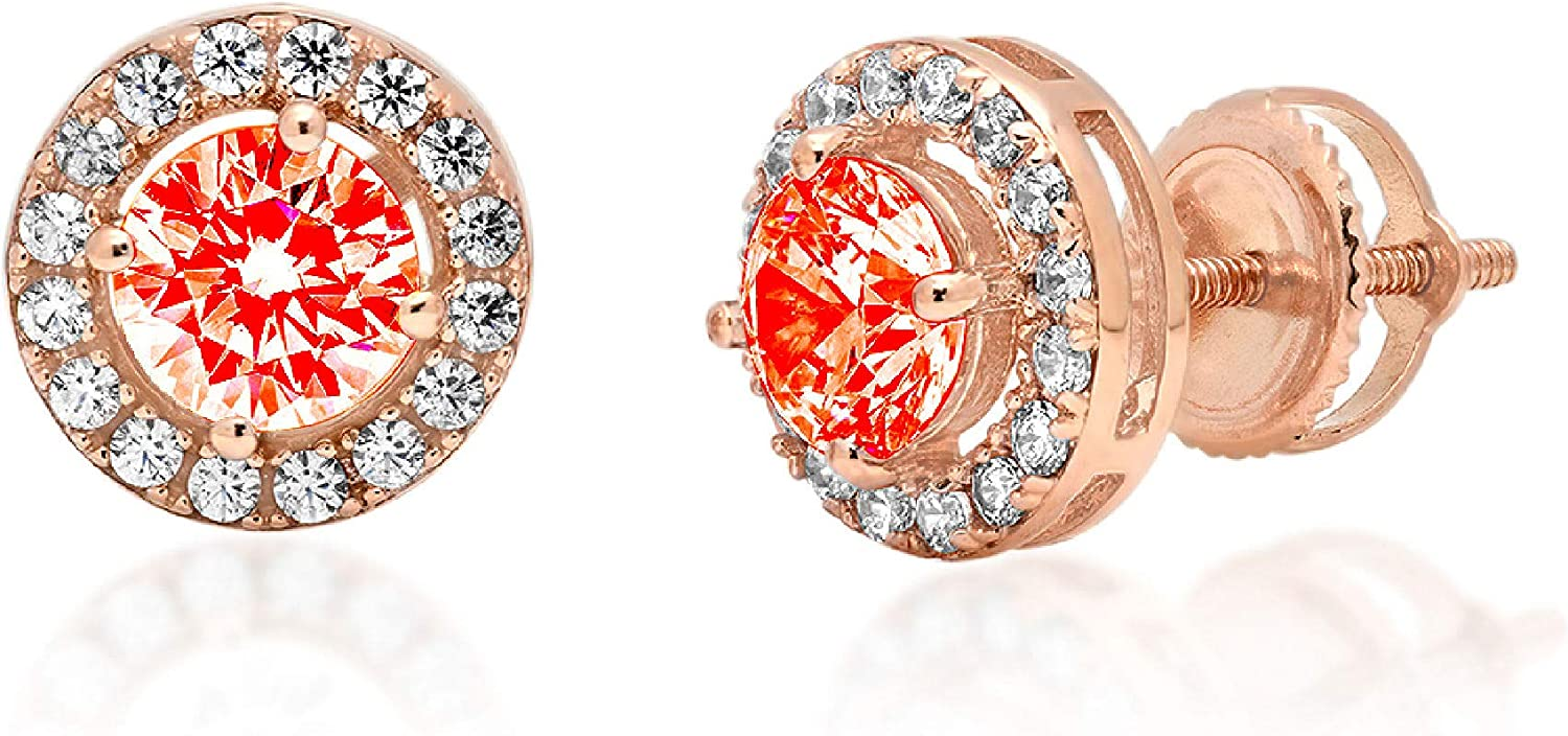 Clara Pucci 1.7 ct Brilliant Round Cut Halo Solitaire VVS1 Flawless Red Simulated Diamond Gemstone Pair of Solitaire Stud Screw Back Earrings Solid 18K Rose Gold