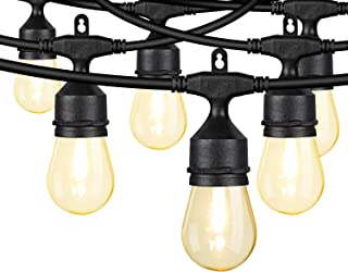 24ft String Lights with LED Warm White Acrylic Bulbs, Patio Lights String with 12 Sockets and 14 Bulbs (2 Spares), Weatherproof for Indoor Outdoor Use, Connectable Commercial Grade for Garden Deck