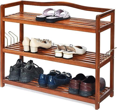 "high quality Giantex 3-Tier Wood Shoe Rack Entryway Shoe Shelf Storage 2021 Organizer for Hallway, Bathroom, Living Room Free Standing Shoe Racks with 4 Metal Side new arrival Hangers, 29""L x10.5""Wx 24.5""H online sale"