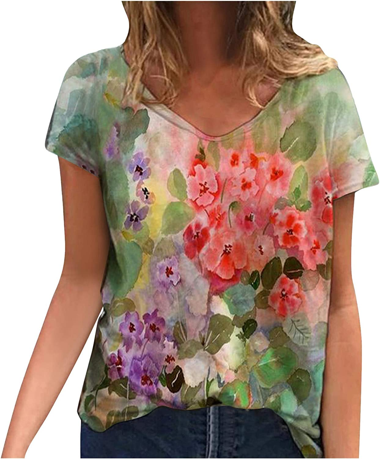 Women's T-Shirt Cheap SALE Start Floral Ranking TOP7 Print Colorful Loose Short Sleeve Casual