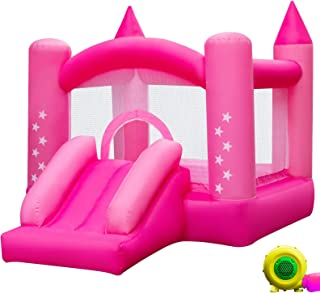 Happybuy Inflatable Castle Bounce Outdoor Bounce Castle with Slider Blower Indoor Inflatable Bounce for Kids (9.5x6.5x6.5Ft Red Pink)