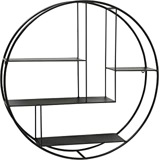 WHW Whole House Worlds Industrial Round Metal Wall Shelf, 4 Levels, Floating, Scandi Contemporary Style, Black Iron, 29 Inches Diameter