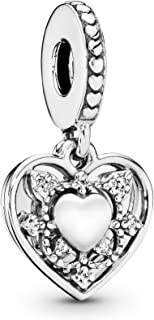 Jewelry - My Wife Always Heart Dangle Charm in Sterling Silver with Clear Cubic Zirconia