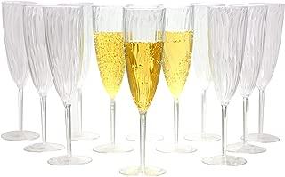Premium Champagne Flutes 6 oz. Clear Hard Plastic Disposable Glasses, Value Box Set - 96 Count