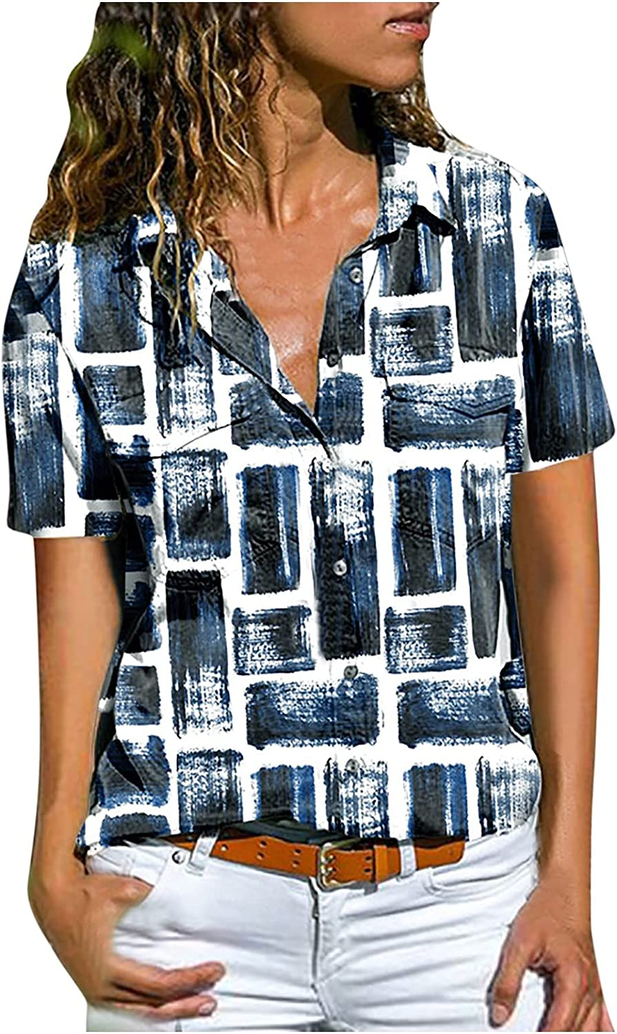 Fankle Womens Summer Casual Tops V Neck Color Block Tunic Short Sleeve Button Down Shirts Blouse