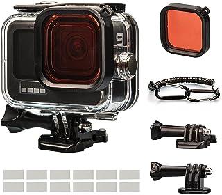 Lammcou Waterdichte beschermhoesset Compatibel met GoPro Hero 9, 60M onderwaterduikbehuizing Behuizing & rood filter & lan...