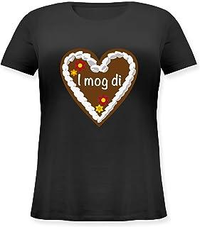 Shirtracer Oktoberfest & Wiesn Damen - Lebkuchenherz I mog di - Lockeres Damen-Shirt in großen Größen mit Rundhalsausschnitt