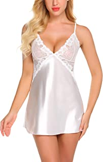 Avidlove Women Lingerie V Neck Nightwear Satin Sleepwear Lace Chemise Mini Teddy
