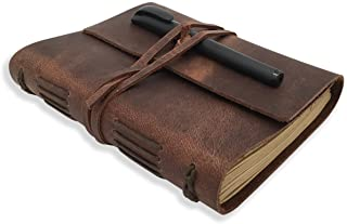 Leather Journal Writing Notebook - Genuine Leather Bound Daily Notepad for Men & Women Lined Paper 240 Kraft Pages, Handma...
