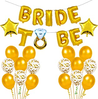 Party Propz Gold Bride to Be Decoration Set- 23Pcs with Bride to Be Ring Foil Balloon, Metallic Balloons,Bachelorette/ Sta...