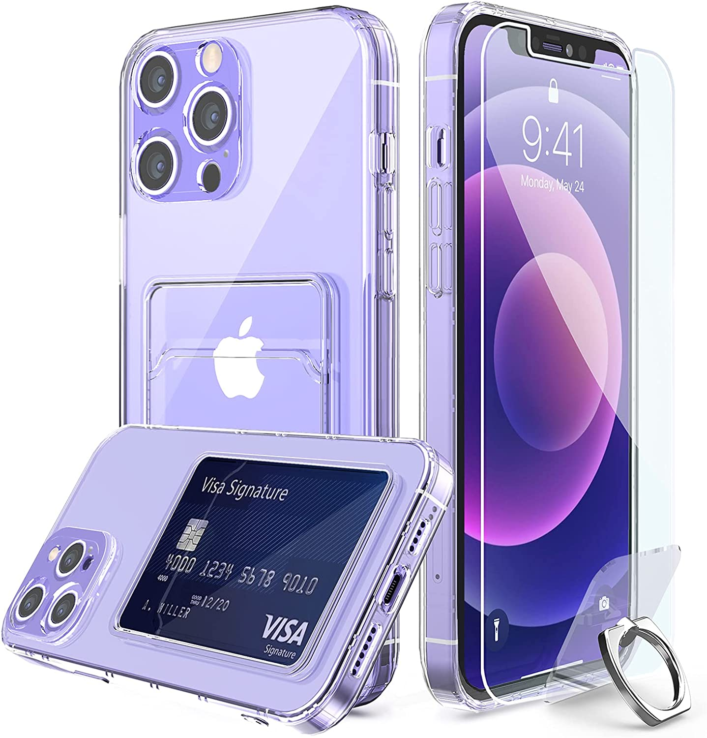 Compatible for iPhone 12 Pro Clear Card Case, with [Ring Holder Kickstand] [Lens Protector] [Screen Protector] Clear 360 Full Body Coverage Protective Shock-Absorbing Wallet Case with Card Holder