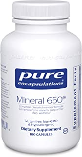Pure Encapsulations - Mineral 650 - Hypoallergenic Combination of Balanced Chelated-Minerals - 180 Capsules