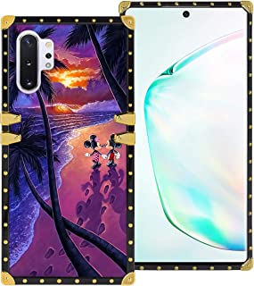 DISNEY COLLECTION Samsung Galaxy Note 10+ 5G 6.8 Inch 2019 Luxury Phone Case Mickey Minnie Beautiful Beach Romantic Sunset Square Phone Cover Metal Decoration Corner Shockproof Phone Shell