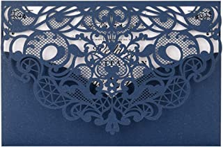Navy Blue Laser Cut Wedding Invitations Kit FOMTOR Lace Wedding Invitations with Envelopes and Inner Sheets for Wedding,Birthday Parties,Baby Shower 50 Packs