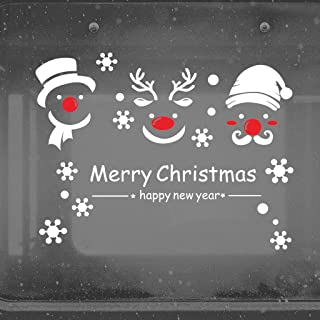 Ezyforu Wall Decals Santa Snowman Reindeer Lovely Face Christmas Vinyl Removable Stickers Home Decor Party Supplies Wallpapers for Shop Window Room Mural
