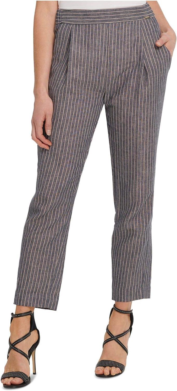 DKNY Womens Gray Pinstripe Straight Leg Wear to Work Pants Size 18