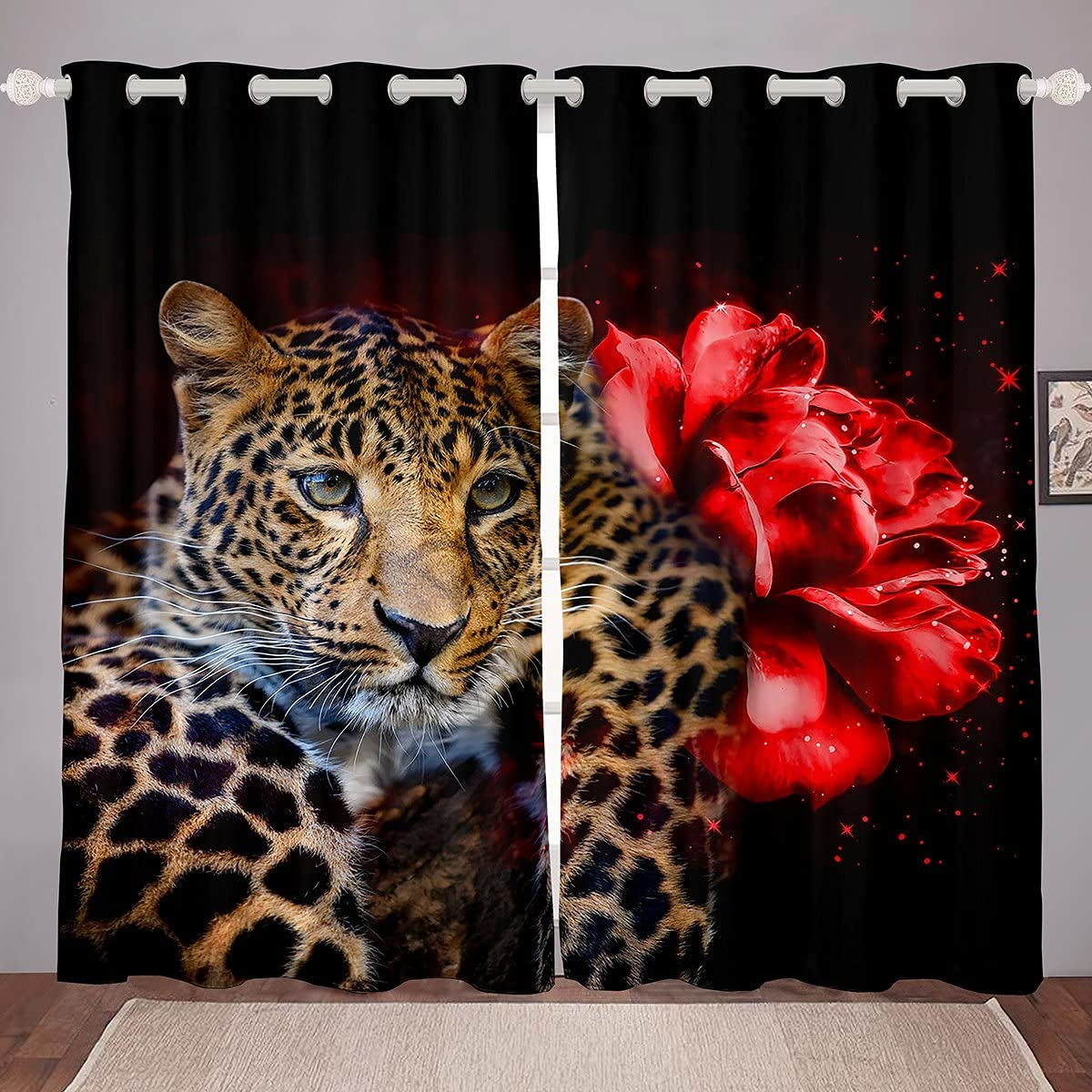 Leopard Window Curtains 日本正規代理店品 for Bedroom Room Rose Red 公式通販 Curtain Living