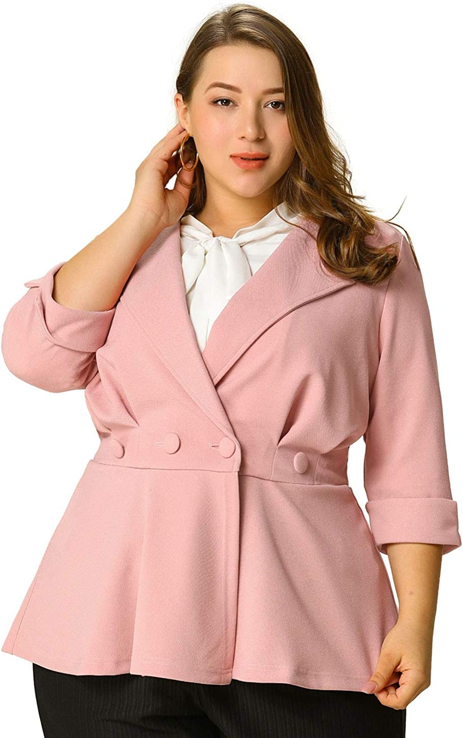 Agnes Orinda Women's Plus High material Size Blazers V Ruffle Neck Max 90% OFF Button Ruch