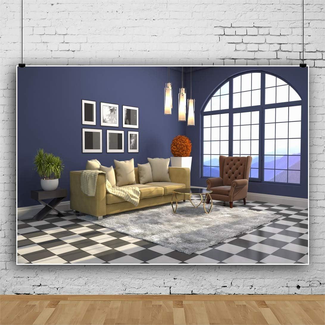 DORCEV 12x10ft Interior Room Design Photography Backdrop Classic House Decoration Background Navy Blue Wall Carpet Sofa Apartment Decoration Residence Villa Decor Photo Studio Props