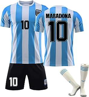 CMYA Diego Maradona Trikot, Retro 1986 Herren Argentinien Trikot Retro Blau Weiß T-Shirt Maradona Nr. 10 Fußballtrikots, Klassische Gedenkfußballuniformen für Kinder,Bring Socks,26